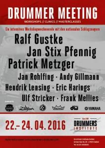 Plakat zum Drummer Meeting im Drummers Institut.